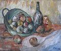 Still life with fruits and a bottle. by Fernando Gomila