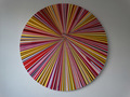 Fragmented Circular Canvas Red by Emily Beza