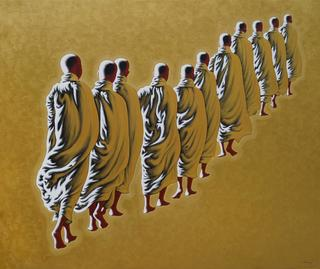 Monks on the morning round  3 by Min Wae Aung