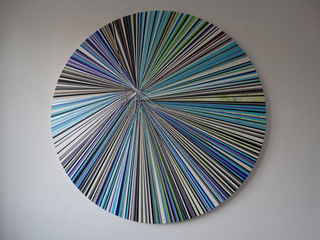 Fragmented Circular Canvas Blue by Emily Beza