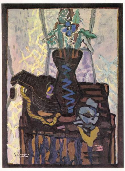 (aka Flower pot on a case) by Georges Braque