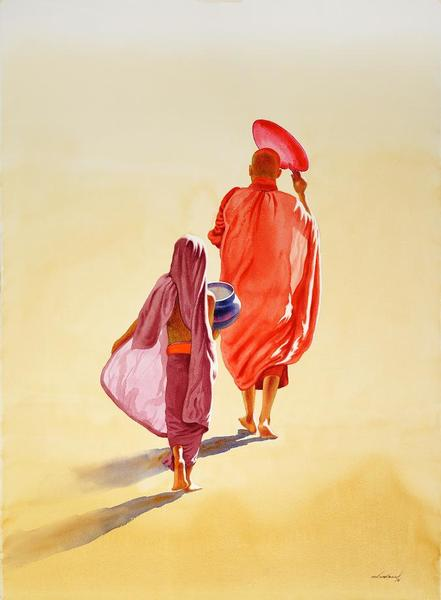 Monk and Novice 1 by Min Wae Aung