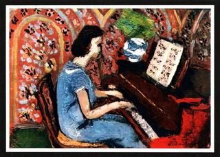 LITTLE PIANIST WITH A BLUE & RED DRESS by Henri Matisse