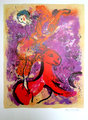 Rider on a red horse by after Marc Chagall
