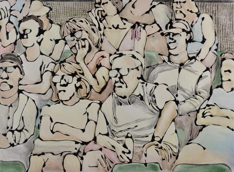 Tennis spectators by Hilary Senhanli