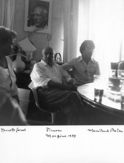 Portrait of Pablo Picasso, Henrietta Gomes and Manitas de Plata, Mougins in July 1969 by Pablo Picasso