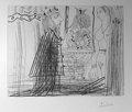 Scene Biblique (David et Bethsabee) avec bouffon au chapeau a deux cornes by Pablo Picasso