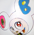 And Then x6 (White: The superflat method, pink and blue ears) by Takashi Murakami