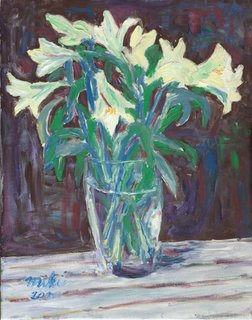 Lilies in vase by Moti Lorber