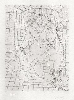 Une jeune femme nue plantureuse assis enchanee by André Derain