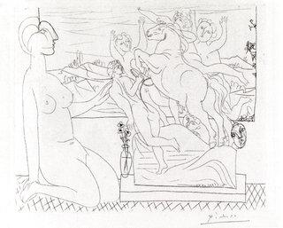 Modele contemplant un Groupe sculpte by Pablo Picasso