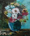Flowers in a blue vase by Denitsa Kaneva