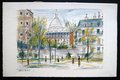 Walkers on a street in Paris with Sacre Coeur in the background by Maurice Utrillo