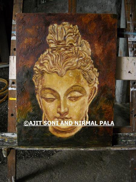 KNIFE PAINTING(LORD BUDDHA) Original Art by AJIT PALA ...