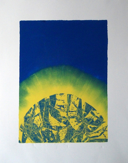 Blue ink, white and yellow by Nelly Arias