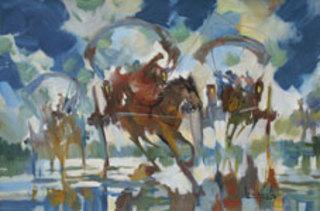 Horse Carts in the Morning Rain by U Lun Gywe