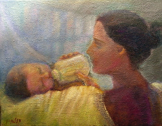 Mother with child by Sylva Zalmanson