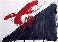 Quatre ditades - Serie <<Negre i roig>> by Antoni Tàpies