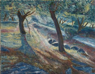 Sun beems between trees by Moti Lorber
