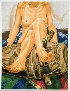 Nude With African Drum by Philip Pearlstein
