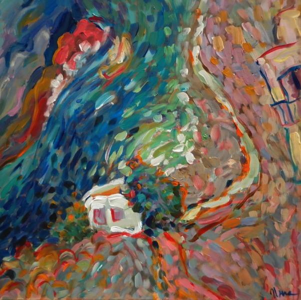 Seascape with a fisherman´s house by Inga Erina