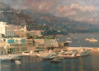View over Monaco Harbour, Larvotto Beach by Pip Todd Warmoth