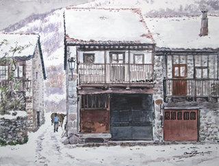 nieve en el poblado by Bienvenido Garcia Arozamena