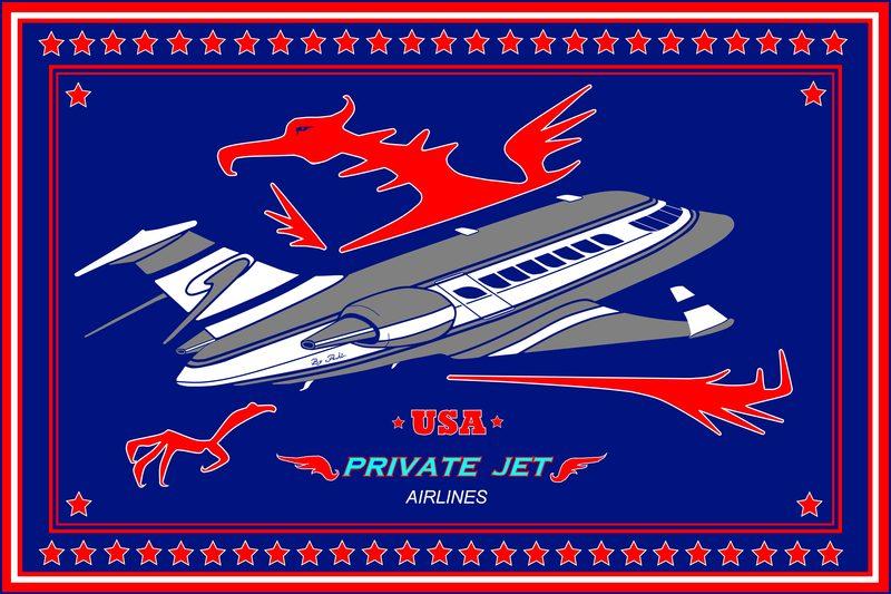 great flag size xxxl private jet airlines original art. Black Bedroom Furniture Sets. Home Design Ideas