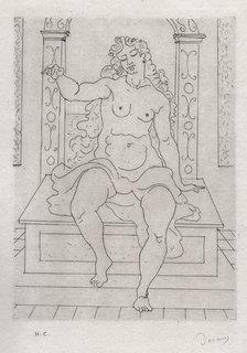 Une jeune femme nue plantureuse est assis sur un banc by André Derain