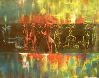Art Erotic Painting- Kamasutra Tropical- Oil on canvas by Alejandra Bañuelos