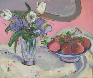 Still life with flowers and fruit by María Mora Ramirez