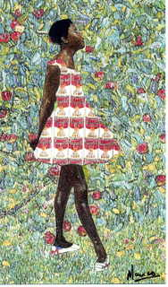 Degas Dancer in Andy Warhol Campbell soup cans dress strolling by Gustav Klimt Apple tree 1 by Marco Mark