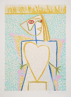 Femme au Buste en Coeur by Picasso Estate Collection