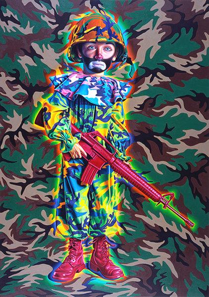 Metro Orange Art Inc Ron English Camo Tramp Boy