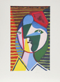 Visage de Femme Sur Fond Rayé by Picasso Estate Collection