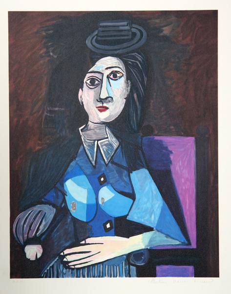 Femme Assise au Petit Chapeau Rond Original Art by Picasso Estate ...