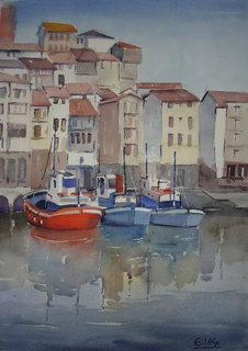 """Reflections on the old port by Enrique López Suárez """"Elosu"""""""