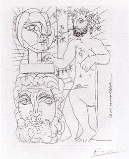 Sculpteur et Deux Tetes Sculptees by Pablo Picasso