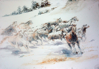 Horses in the snow by Juan Félix Campos
