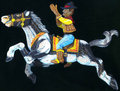 Cowboy Equestrian Horse and Rider Toy Sculpture. by Rik Verlin Livingston as Zono Art