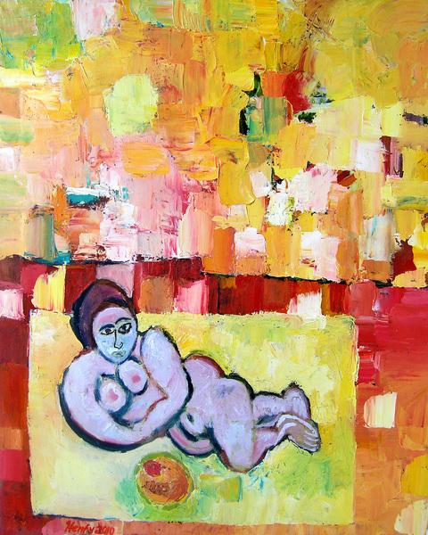 Nude Woman Eating Fruit Under Mango Sky by Eric Henty
