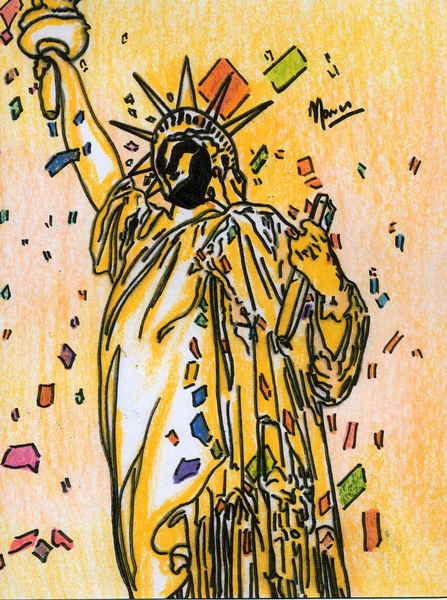 Macy`s thanksgiving day parade,statue of liberty by Marco Mark