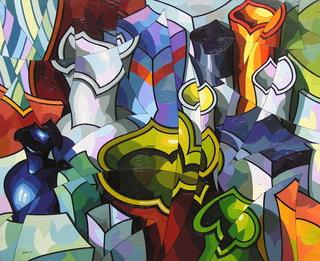 Composicion con vasijas y botella azul. by José Sanz Sala