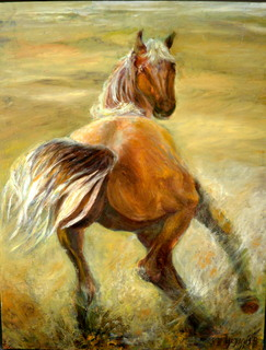 Horse in field by Sylva Zalmanson