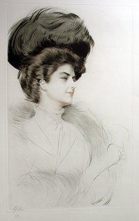 Woman facing towards the right by Paul César Helleu