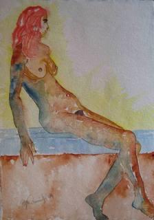 Romy - seated. by Roger Cummiskey