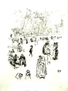 """Nursemaids: """"Les Bonnes du Luxembourg"""" by James Abbott Mc Niel Whistler"""