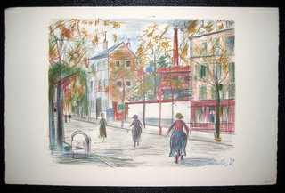 Walkers on a street in Paris by Maurice Utrillo