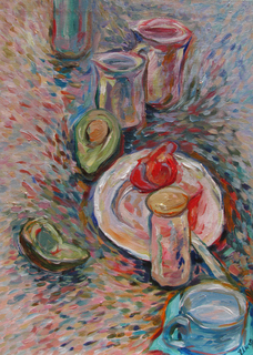 Still life with blue cup by Inga Erina