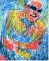 Ray Charles, cracked glass painting by Marco Mark